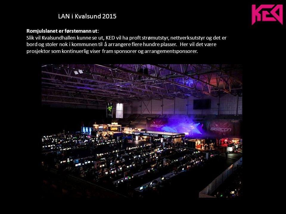 LAN i Kvalsund 2015 Romjulslanet er førstemann ut: Slik vil Kvalsundhallen kunne se ut, KED vil ha proft strømutstyr, nettverksutstyr og det er bord og stoler nok i kommunen til å arrangere flere hundre plasser.