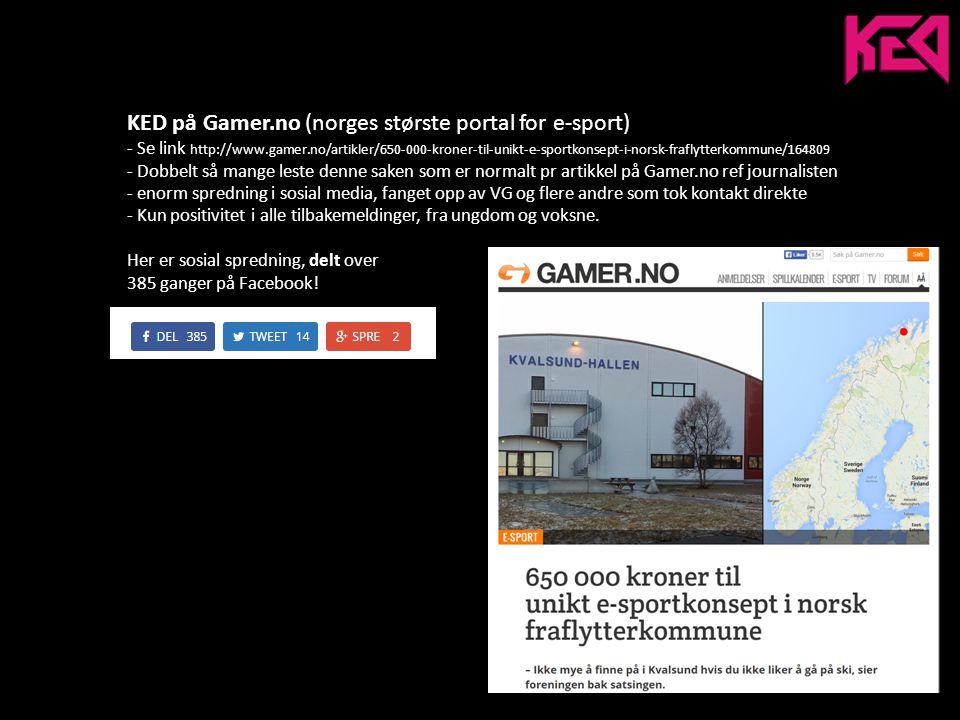 KED på VGTV - Sett 76042 ganger - Delt 259 ganger på facebook - booket inn ny artikkel i desember, VGTV kommer til Kvalsund.