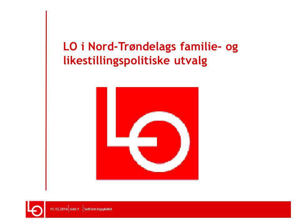 LO i Nord-Trøndelags familie- og likestillingspolitiske utvalg Sett inn topptekst11.12.2014side 1