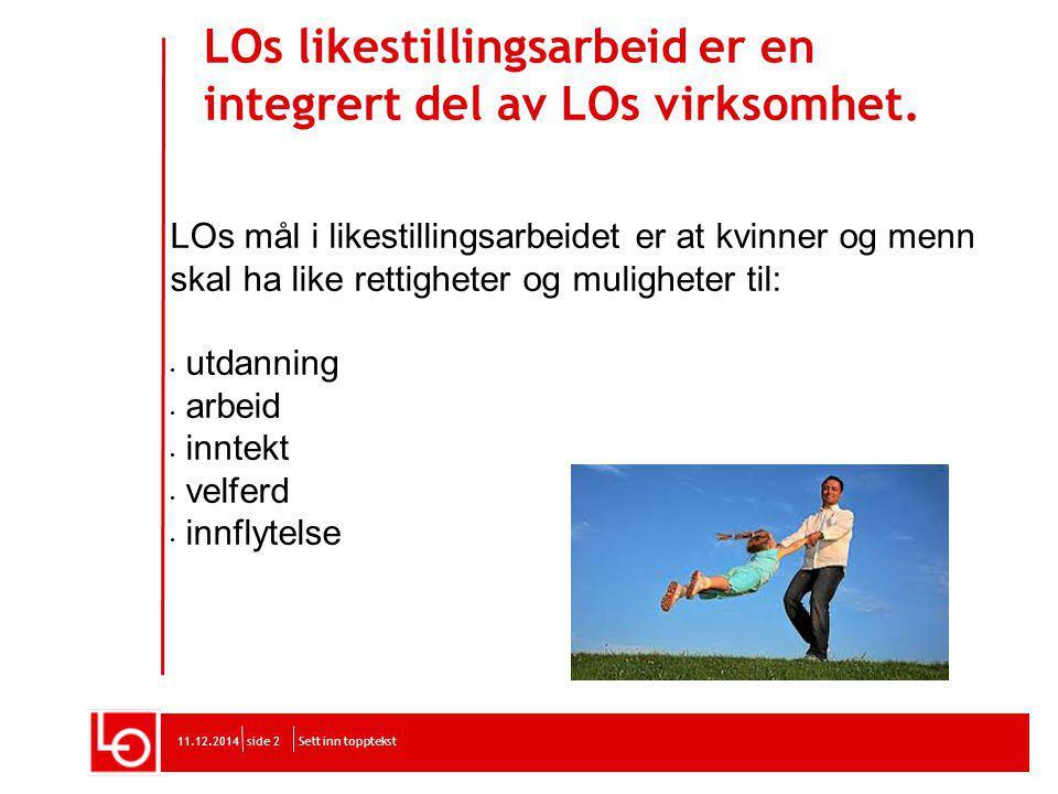 LOs likestillingsarbeid er en integrert del av LOs virksomhet.