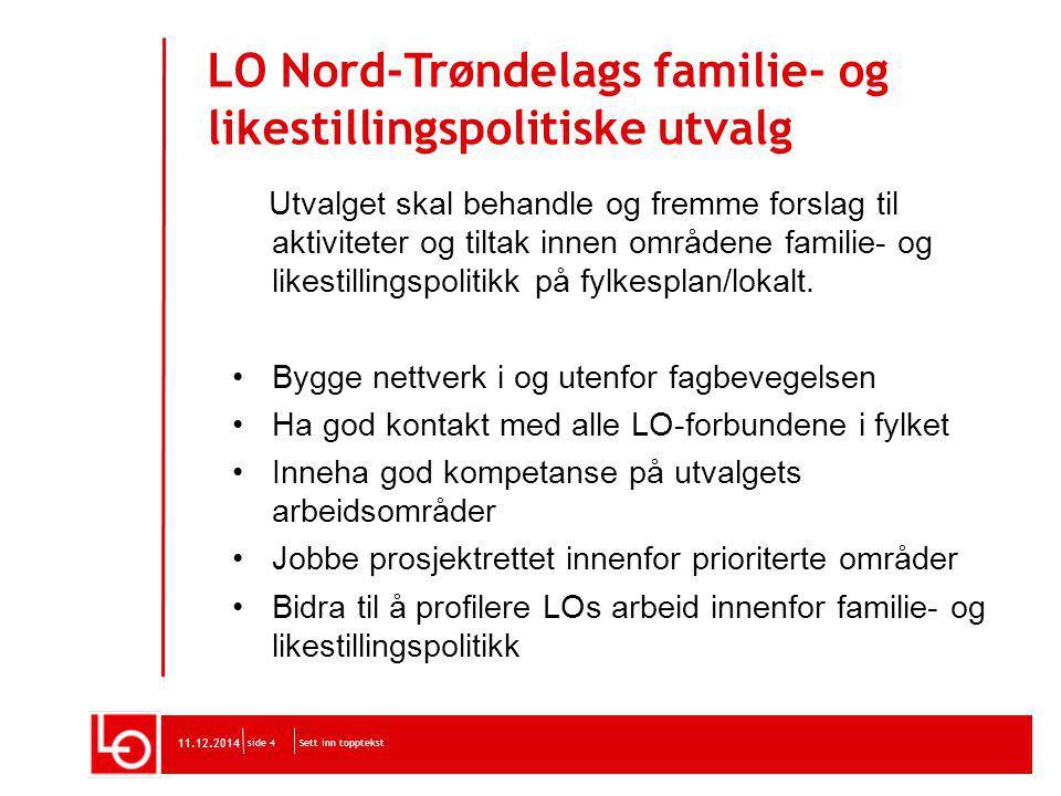 LO Nord-Trøndelags familie- og likestillingspolitiske utvalg Utvalget skal behandle og fremme forslag til aktiviteter og tiltak innen områdene familie- og likestillingspolitikk på fylkesplan/lokalt.
