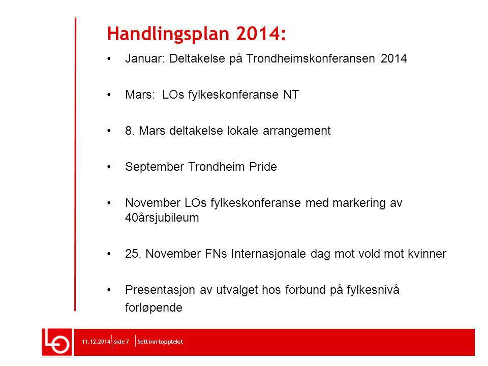 Handlingsplan 2014: Januar: Deltakelse på Trondheimskonferansen 2014 Mars: LOs fylkeskonferanse NT 8.