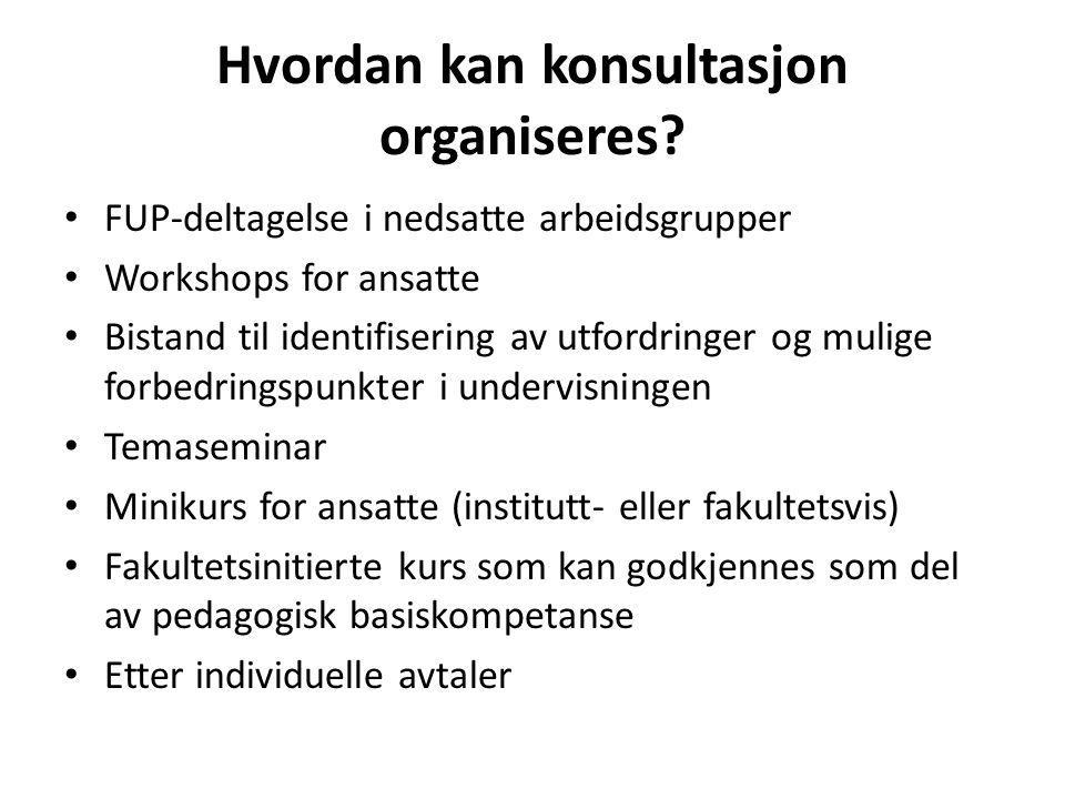 Hvordan kan konsultasjon organiseres.