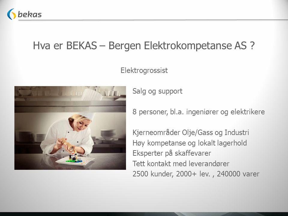 Hva er BEKAS – Bergen Elektrokompetanse AS ? Elektrogrossist Salg og support 8 personer, bl.a. ingeniører og elektrikere Kjerneområder Olje/Gass og In