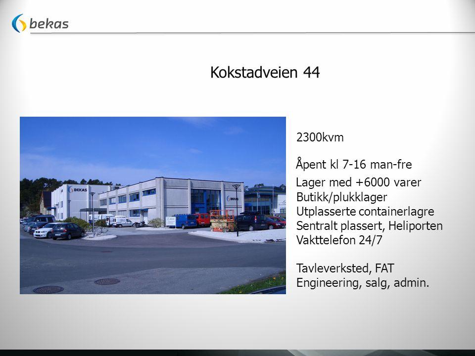 Kokstadveien 44 2300kvm Åpent kl 7-16 man-fre Lager med +6000 varer Butikk/plukklager Utplasserte containerlagre Sentralt plassert, Heliporten Vakttelefon 24/7 Tavleverksted, FAT Engineering, salg, admin.