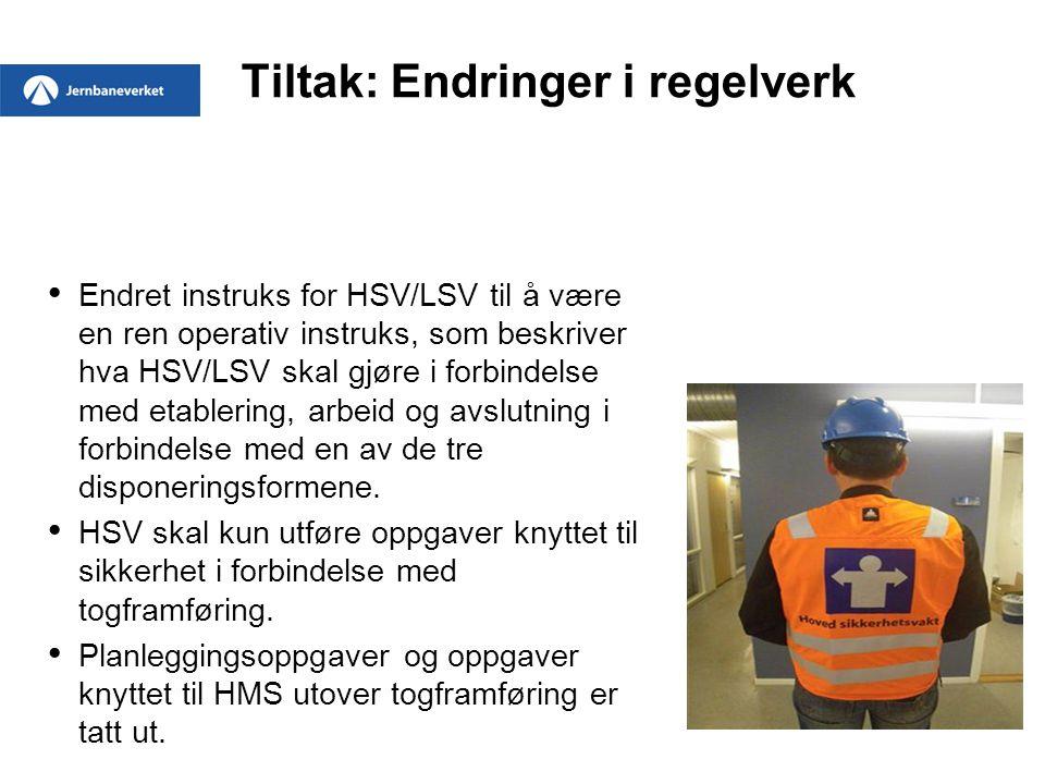 Tiltak: Endringer i regelverk Endret instruks for HSV/LSV til å være en ren operativ instruks, som beskriver hva HSV/LSV skal gjøre i forbindelse med