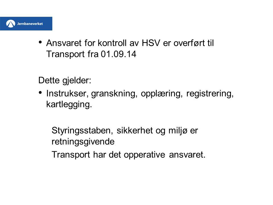 Ansvaret for kontroll av HSV er overført til Transport fra 01.09.14 Dette gjelder: Instrukser, granskning, opplæring, registrering, kartlegging. Styri