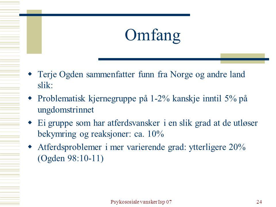Psykososiale vansker Isp 0724 Omfang  Terje Ogden sammenfatter funn fra Norge og andre land slik:  Problematisk kjernegruppe på 1-2% kanskje inntil