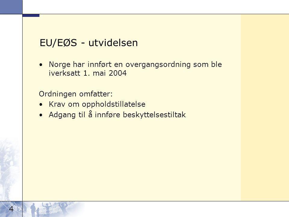 4 EU/EØS - utvidelsen Norge har innført en overgangsordning som ble iverksatt 1.