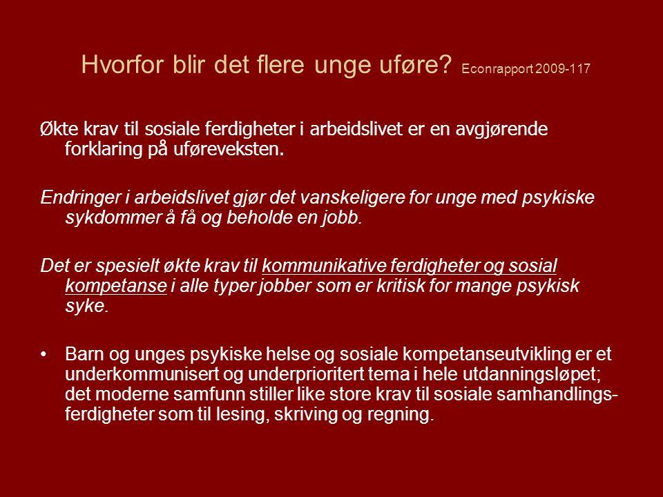 De bortvalgte elevene En undersøkelse blant 1111 elever i årskurs 2 i 63 klasser ved 31 grunnskoler i Stockholm, Elevene skulle velge 3 medelever de ville leke med og 3 elever som de ikke ville leke med, Medelevene valgte bort 18% av elevene: –Bråkete gutter, sjenerte og tilbakeholdne jenter & gutter samt elever med innvandrerbakgrunn var mest utsatt, Lærerne identifiserte halvparten mens foreldrene oppfattet hver femte som hadde venneproblemer – de bråkete ble lettest identifisert, Årsaksanalyser tydet på at det først og fremst var manglende sosiale forutsetninger og ferdigheter som førte til at elever ble valgt bort og dette påvirket indirekte skoleprestasjonene i negativ retning.