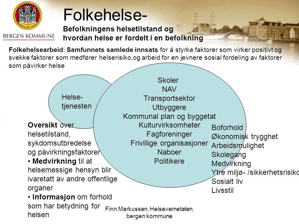 Finn Markussen, Helsevernetaten, bergen kommune Folkehelse- Befolkningens helsetilstand og hvordan helse er fordelt i en befolkning Helse- tjenesten S