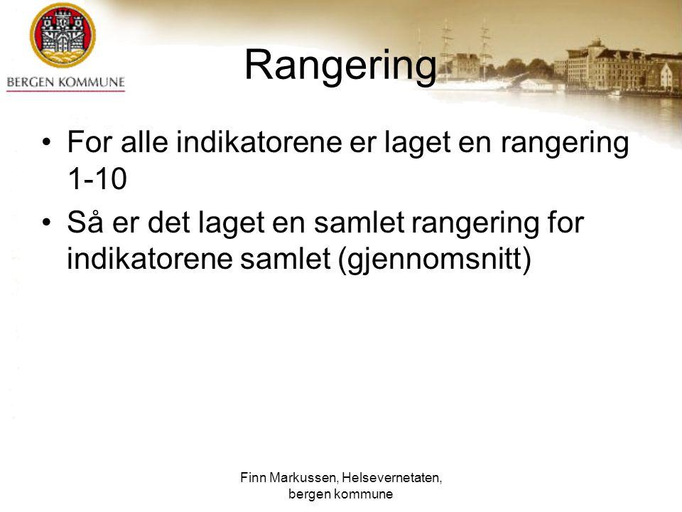 Finn Markussen, Helsevernetaten, bergen kommune Rangering For alle indikatorene er laget en rangering 1-10 Så er det laget en samlet rangering for ind