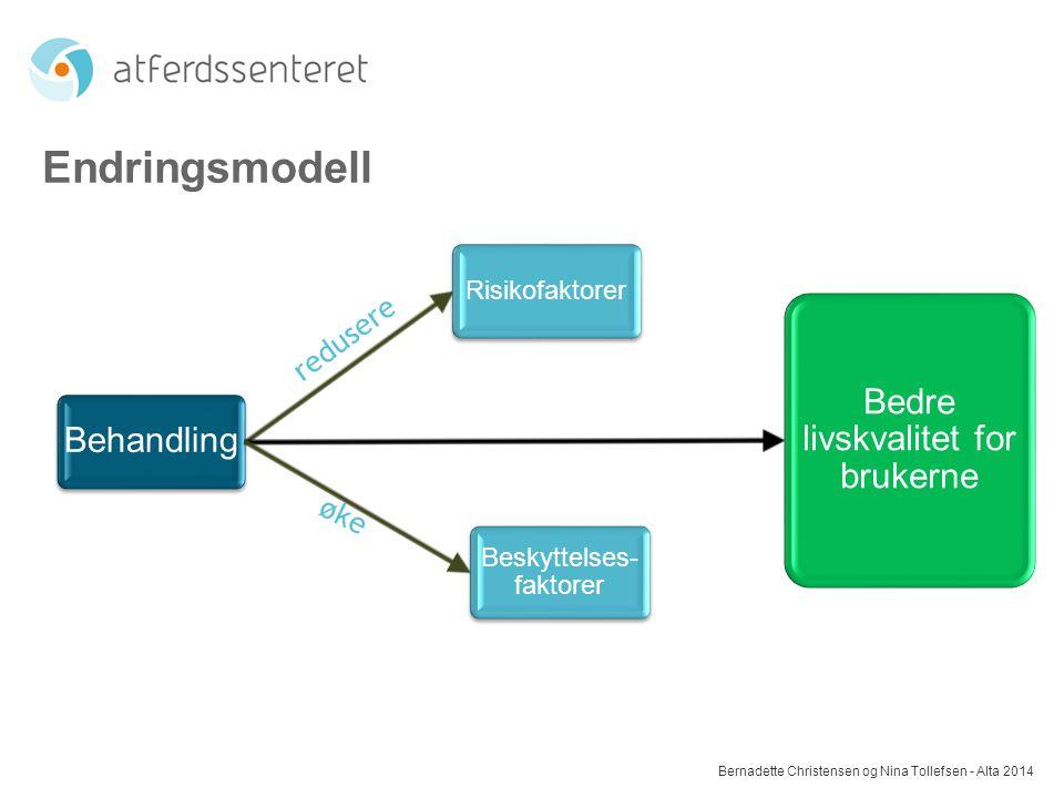 Endringsmodell Bernadette Christensen og Nina Tollefsen - Alta 2014 Behandling Risikofaktorer Bedre livskvalitet for brukerne Beskyttelses- faktorer r