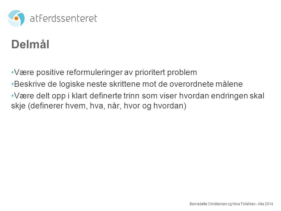 Delmål Være positive reformuleringer av prioritert problem Beskrive de logiske neste skrittene mot de overordnete målene Være delt opp i klart definer