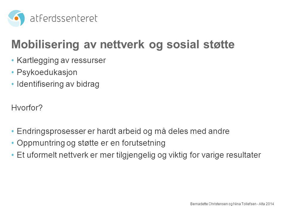 Mobilisering av nettverk og sosial støtte Kartlegging av ressurser Psykoedukasjon Identifisering av bidrag Hvorfor? Endringsprosesser er hardt arbeid