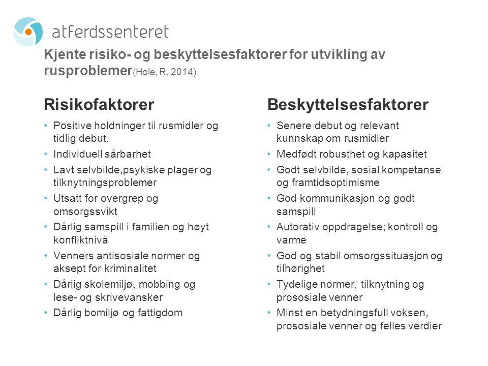 Kjente risiko- og beskyttelsesfaktorer for utvikling av rusproblemer (Hole, R. 2014) Risikofaktorer Positive holdninger til rusmidler og tidlig debut.