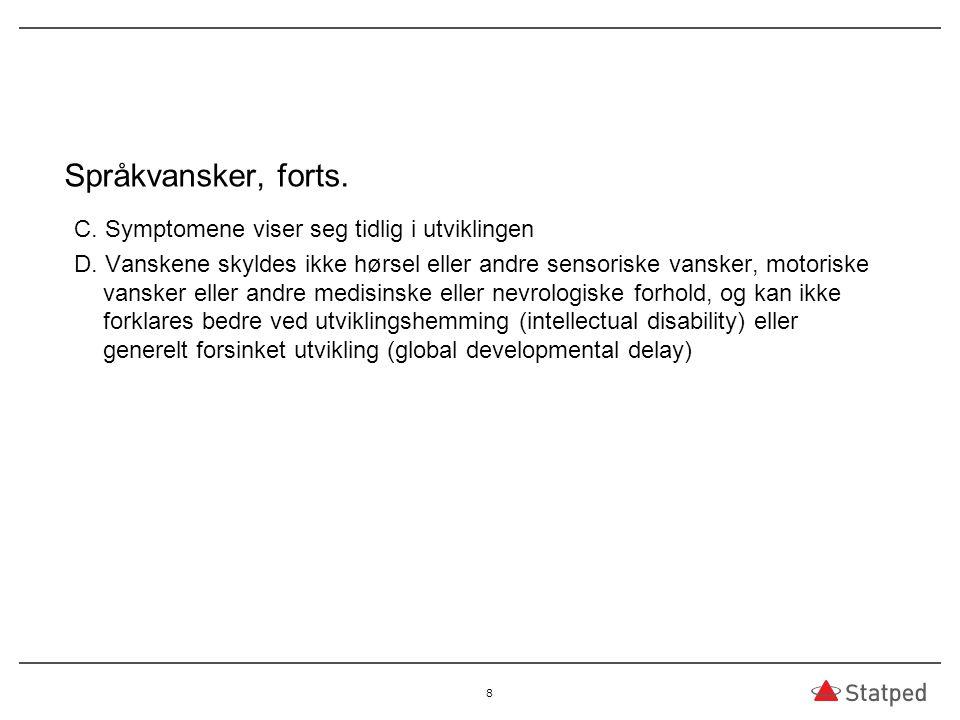Språkvansker, forts. C. Symptomene viser seg tidlig i utviklingen D. Vanskene skyldes ikke hørsel eller andre sensoriske vansker, motoriske vansker el