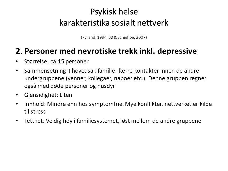 Psykisk helse karakteristika sosialt nettverk (Fyrand, 1994, Bø & Schiefloe, 2007) 2.