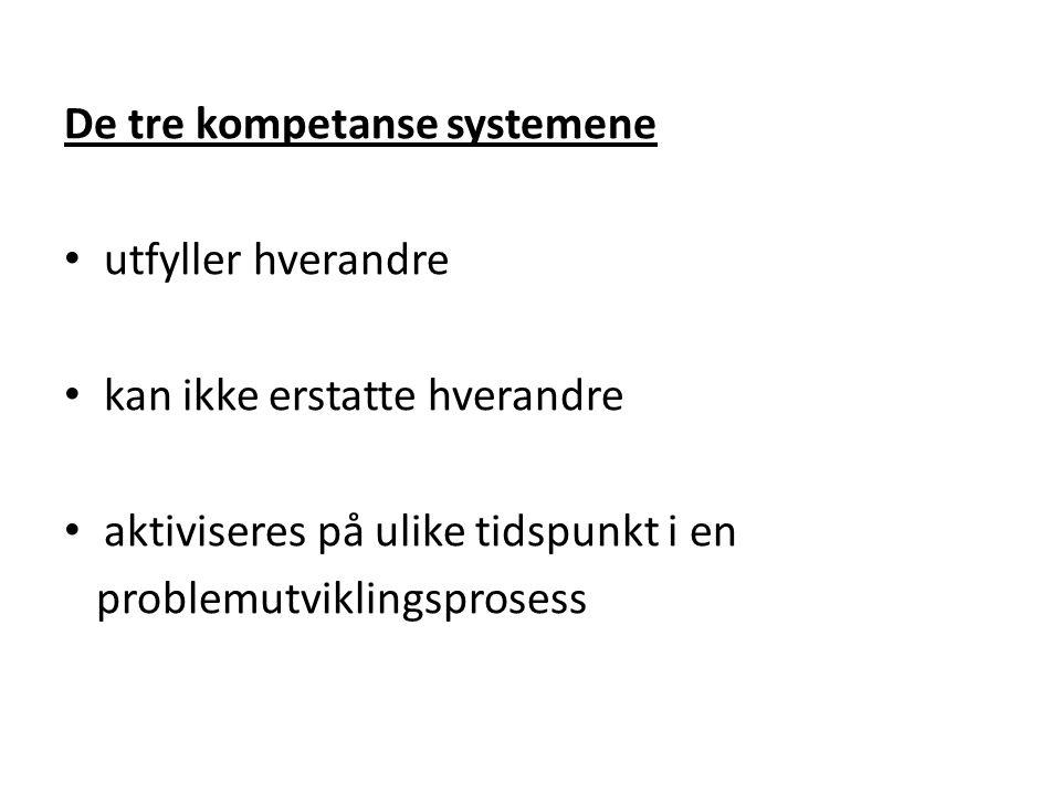De tre kompetanse systemene utfyller hverandre kan ikke erstatte hverandre aktiviseres på ulike tidspunkt i en problemutviklingsprosess