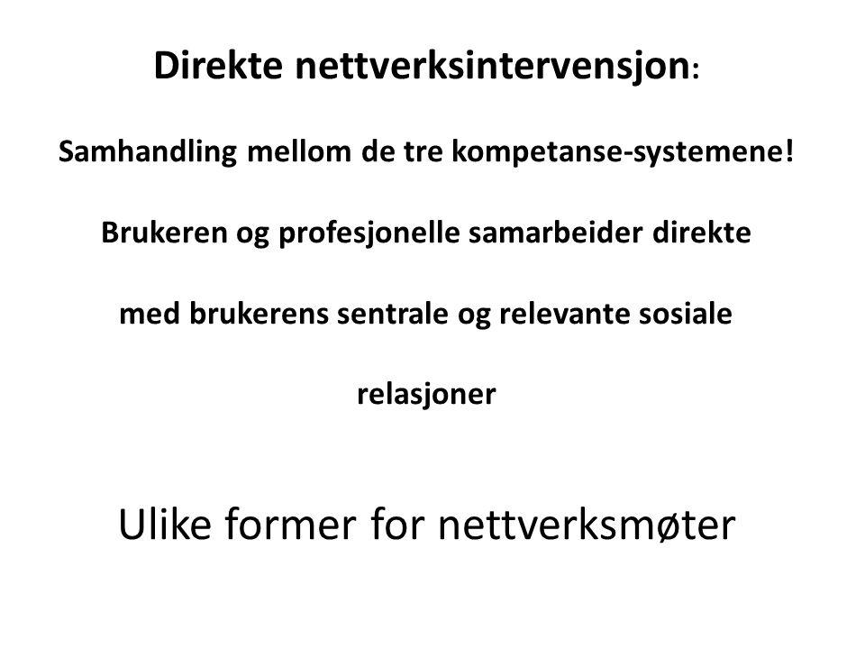 Direkte nettverksintervensjon : Samhandling mellom de tre kompetanse-systemene.