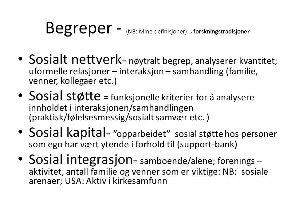 Begreper - (NB: Mine definisjoner) - forskningstradisjoner Sosialt nettverk = nøytralt begrep, analyserer kvantitet; uformelle relasjoner – interaksjon – samhandling (familie, venner, kollegaer etc.) Sosial støtte = funksjonelle kriterier for å analysere innholdet i interaksjonen/samhandlingen (praktisk/følelsesmessig/sosialt samvær etc.