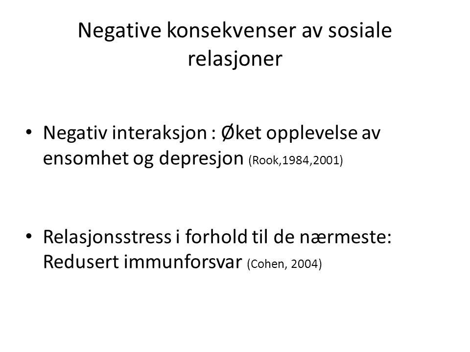 Negative konsekvenser av sosiale relasjoner Negativ interaksjon : Øket opplevelse av ensomhet og depresjon (Rook,1984,2001) Relasjonsstress i forhold til de nærmeste: Redusert immunforsvar (Cohen, 2004)