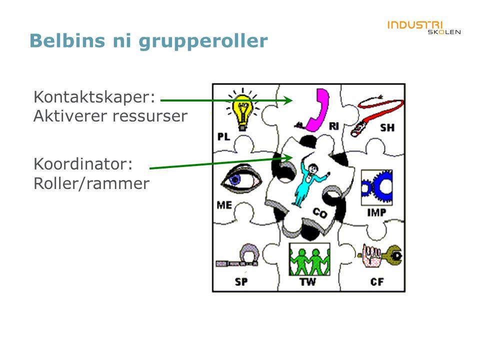Belbins ni grupperoller Kontaktskaper: Aktiverer ressurser Koordinator: Roller/rammer