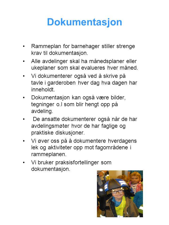 Dokumentasjon Rammeplan for barnehager stiller strenge krav til dokumentasjon. Alle avdelinger skal ha månedsplaner eller ukeplaner som skal evalueres