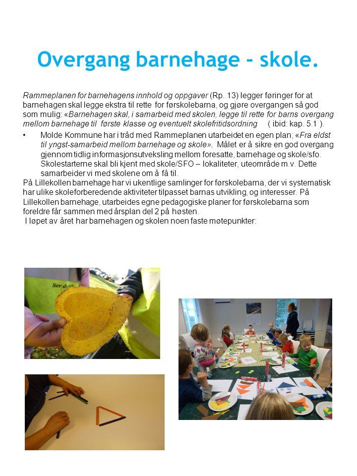 Overgang barnehage - skole.Rammeplanen for barnehagens innhold og oppgaver (Rp.