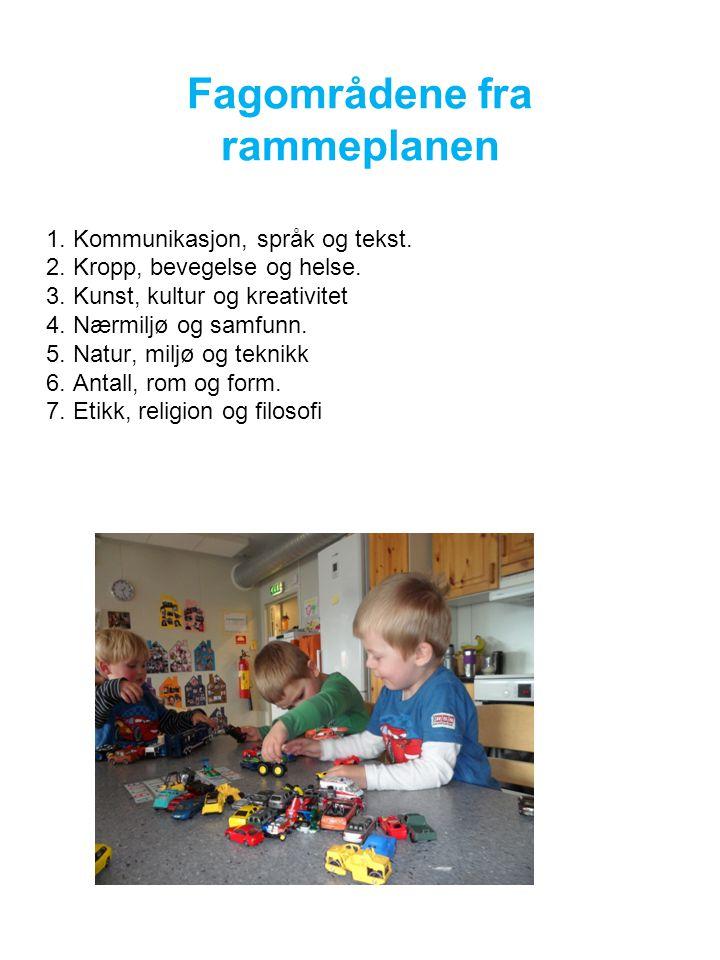 Fagområdene fra rammeplanen 1.Kommunikasjon, språk og tekst.