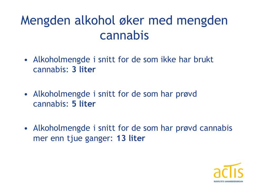 Mengden alkohol øker med mengden cannabis Alkoholmengde i snitt for de som ikke har brukt cannabis: 3 liter Alkoholmengde i snitt for de som har prøvd cannabis: 5 liter Alkoholmengde i snitt for de som har prøvd cannabis mer enn tjue ganger: 13 liter