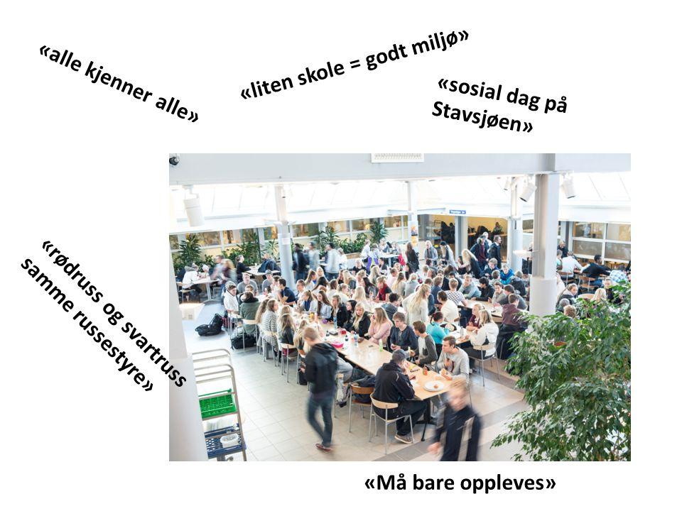 «alle kjenner alle» «liten skole = godt miljø» «rødruss og svartruss samme russestyre» «sosial dag på Stavsjøen» «Må bare oppleves»