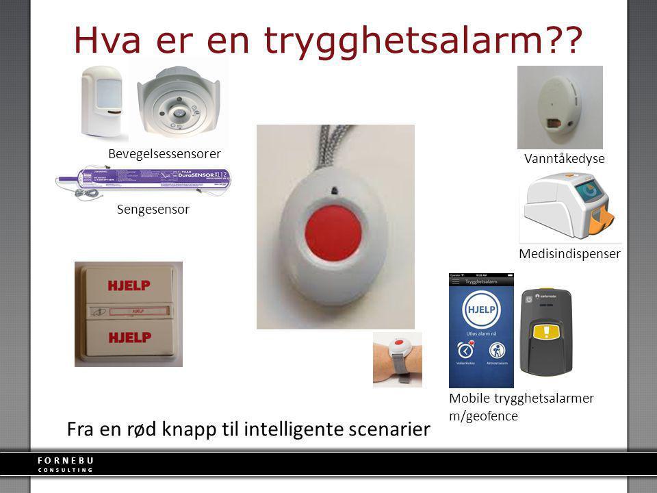FORNEBU CONSULTING Hva er en trygghetsalarm?? Fra en rød knapp til intelligente scenarier Medisindispenser Vanntåkedyse Sengesensor Bevegelsessensorer