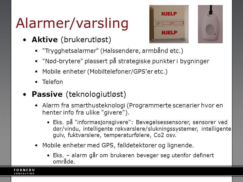 FORNEBU CONSULTING Alarmer/varsling Aktive (brukerutløst)