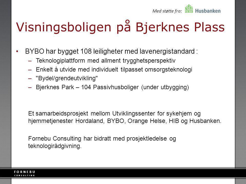FORNEBU CONSULTING Visningsboligen på Bjerknes Plass BYBO har bygget 108 leiligheter med lavenergistandard : –Teknologiplattform med allment trygghets