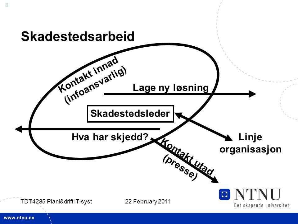 8 22 February 2011 TDT4285 Planl&drift IT-syst Skadestedsarbeid Hva har skjedd.