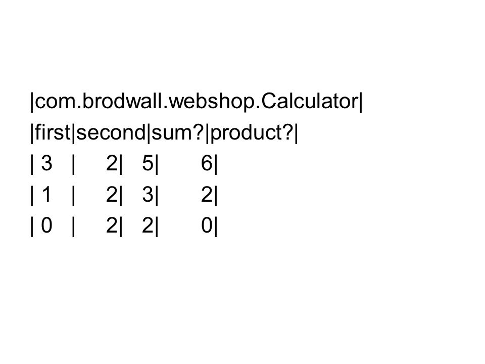 |com.brodwall.webshop.Calculator| |first|second|sum?|product?| | 3 | 2| 5| 6| | 1 | 2| 3| 2| | 0 | 2| 2| 0|
