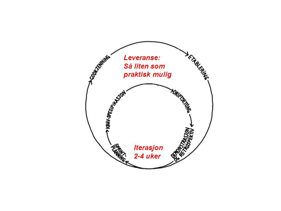 Iterasjon 2-4 uker Leveranse: Så liten som praktisk mulig