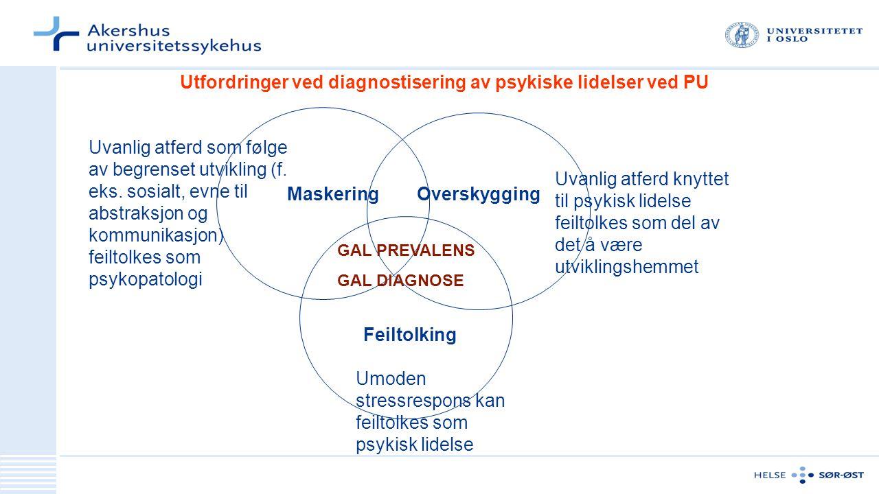 Utfordringer ved diagnostisering av psykiske lidelser ved PU Maskering Feiltolking Overskygging Uvanlig atferd som følge av begrenset utvikling (f. ek