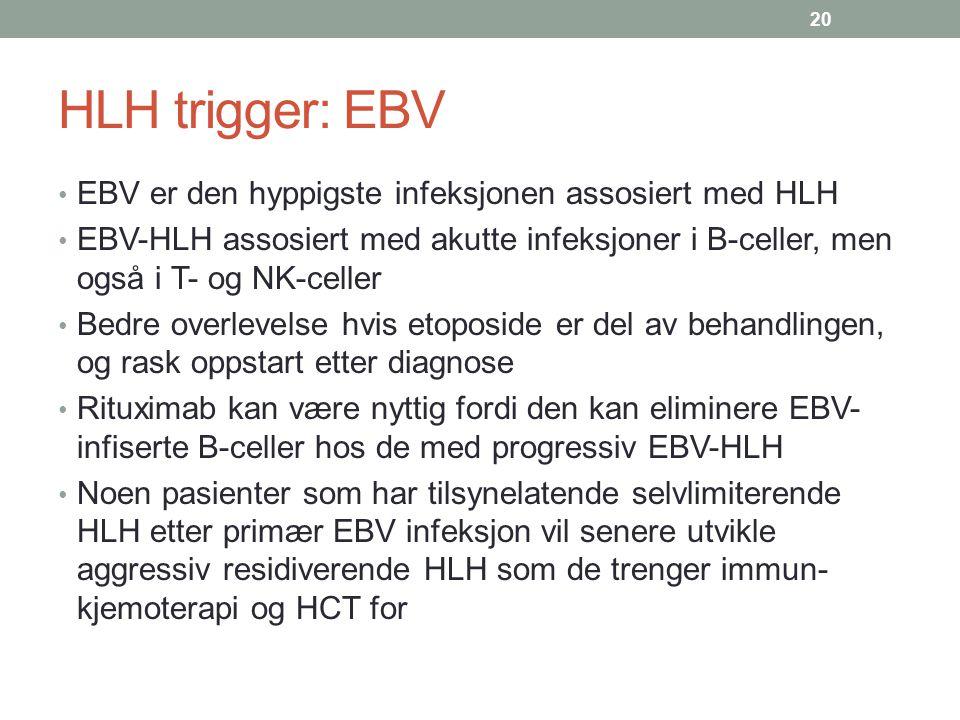 HLH trigger: EBV EBV er den hyppigste infeksjonen assosiert med HLH EBV-HLH assosiert med akutte infeksjoner i B-celler, men også i T- og NK-celler Be