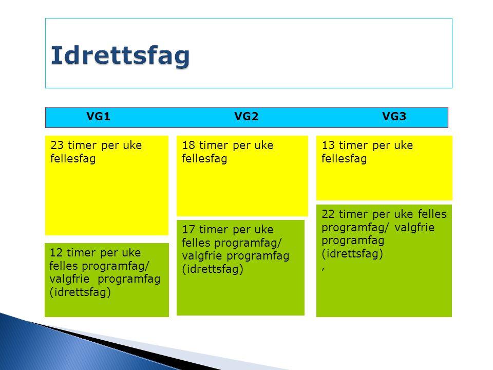 VG1VG2VG3 12 timer per uke felles programfag/ valgfrie programfag (idrettsfag) 17 timer per uke felles programfag/ valgfrie programfag (idrettsfag) 22 timer per uke felles programfag/ valgfrie programfag (idrettsfag), 23 timer per uke fellesfag 18 timer per uke fellesfag 13 timer per uke fellesfag