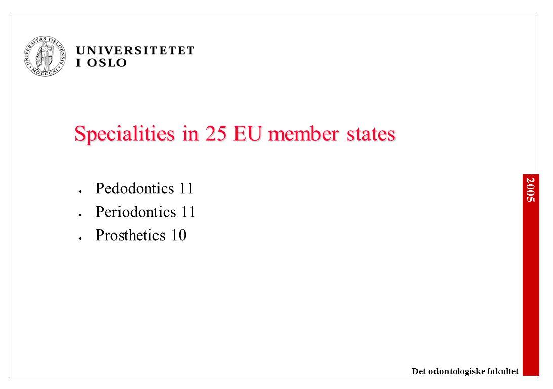 2005 Det odontologiske fakultet Specialities in 25 EU member states Pedodontics 11 Periodontics 11 Prosthetics 10