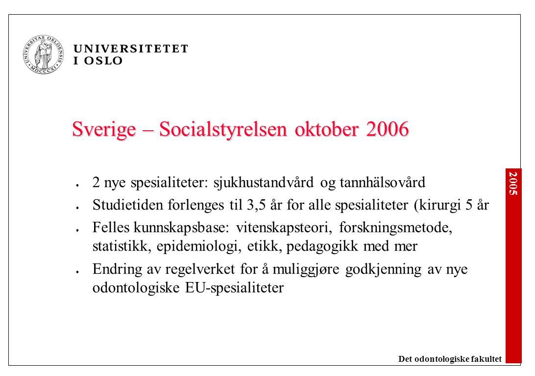 2005 Det odontologiske fakultet Sverige – Socialstyrelsen oktober 2006 2 nye spesialiteter: sjukhustandvård og tannhälsovård Studietiden forlenges til