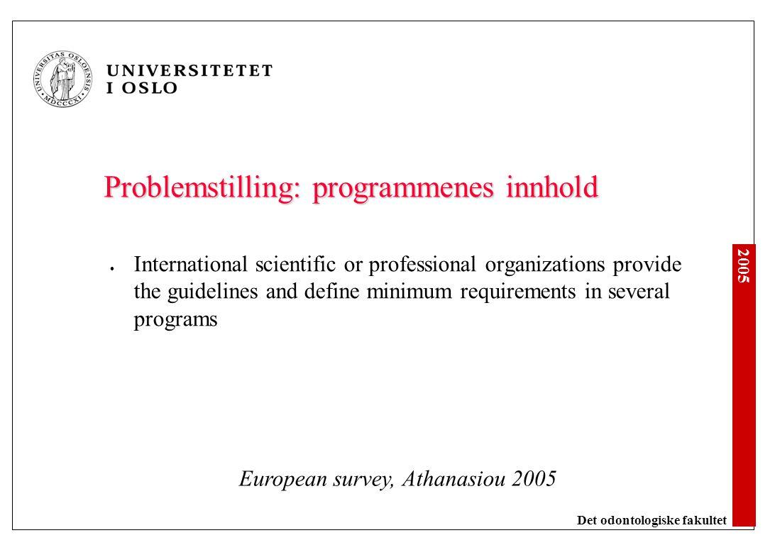 2005 Det odontologiske fakultet Problemstilling: programmenes innhold International scientific or professional organizations provide the guidelines an