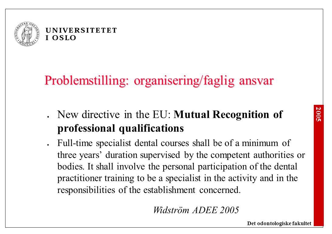 2005 Det odontologiske fakultet Problemstilling: organisering/faglig ansvar New directive in the EU: Mutual Recognition of professional qualifications