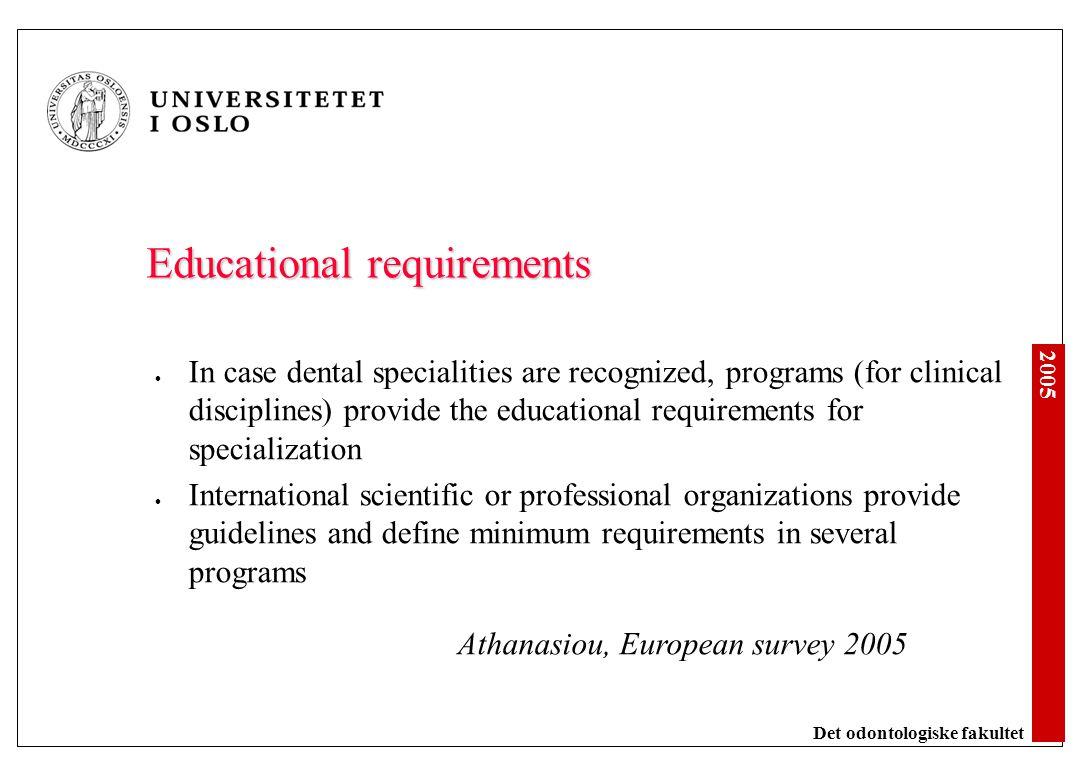 2005 Det odontologiske fakultet Sverige Ortodonti Oral kirurgi Periodonti Endodonti Pedodonti Odontologisk radiologi Protetikk Bittfysiologi