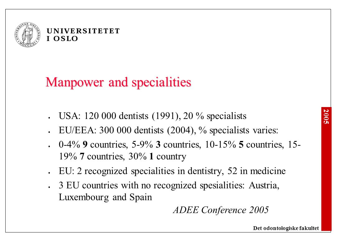 2005 Det odontologiske fakultet Manpower and specialities USA: 120 000 dentists (1991), 20 % specialists EU/EEA: 300 000 dentists (2004), % specialist