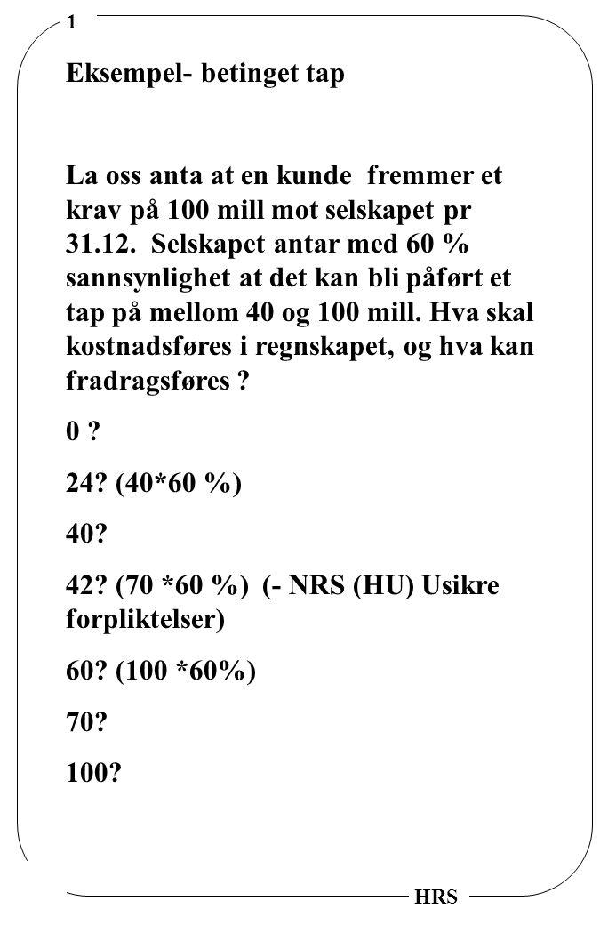 1 HRS Eksempel- betinget tap La oss anta at en kunde fremmer et krav på 100 mill mot selskapet pr 31.12.