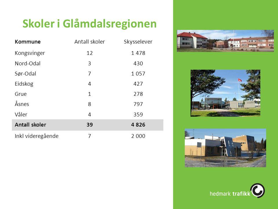 Skoler i Glåmdalsregionen KommuneAntall skolerSkysselever Kongsvinger121 478 Nord-Odal3430 Sør-Odal71 057 Eidskog4427 Grue1278 Åsnes8797 Våler4359 Ant