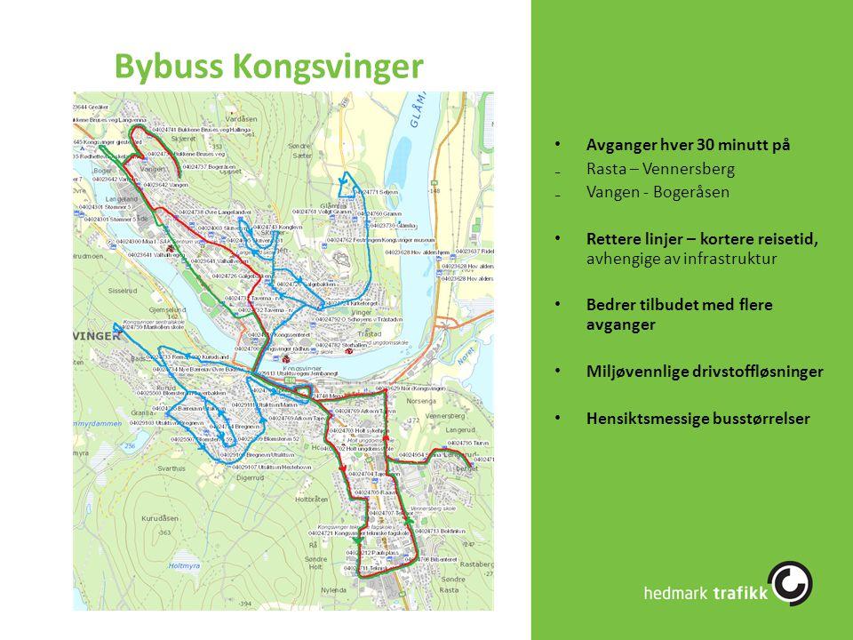 Bybuss Kongsvinger Avganger hver 30 minutt på ₋Rasta – Vennersberg ₋Vangen - Bogeråsen Rettere linjer – kortere reisetid, avhengige av infrastruktur B